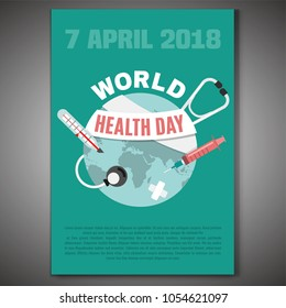 World health day concept. 7 April 2018. Medicine and healthcare image in flat style. Editable vector illustration in medical colors.