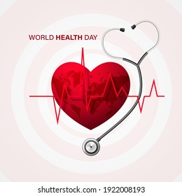 World health day concept with doctor stethoscope and red heart. Vector illustration.
