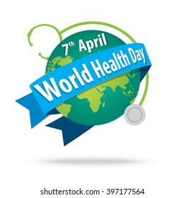 world health day. concept with the earth and stethoscopes