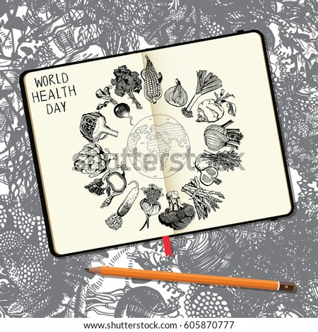 World Health Day Concept With Earth And Healthy Food Vector Notebooks Pencil Hand