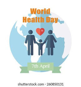 World Health Day. Concept with globe. Vector
