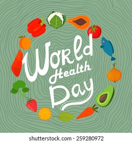 World health day concept with  healthy food. Design in a colorful style.