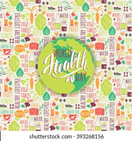 World health day concept with healty lifestyle background. Vector illustration.
