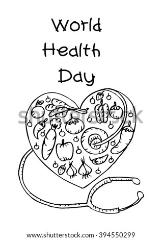 World Health Day Concept With Heart And Healthy Food
