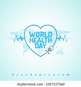 World health day concept world map, heartbeat, stethoscope and flat icons for healthcare and medical vector illustration