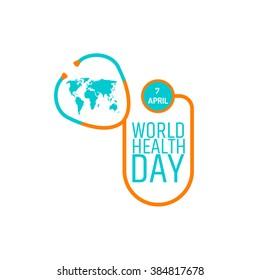 World health day concept. Stethoscope icon, world map on white background. Vector illustration. EPS 8.