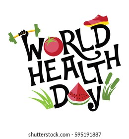 World Health Day exercise, food and type design. In celebration of April 7 holiday. EPS 10 vector.