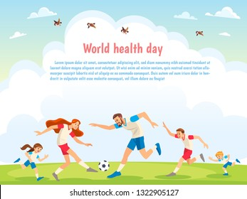 World Health Day. Family Sports. Illustrations of active parents playing sport games in urban park. Funny family couples in cartoon style. Family game sport together, play football.