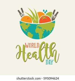 World Health Day global bowl of food and type design. In celebration of April 7 holiday. EPS 10 vector.