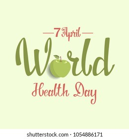 World health day greeting card with fresh fruits.