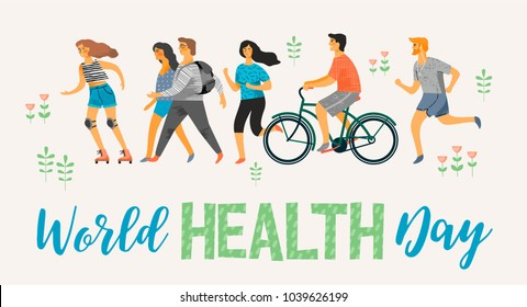 World Health Day. Healthy lifestyle. Roller skates, running, bicycle, walk. Design element in pastel colors with textures