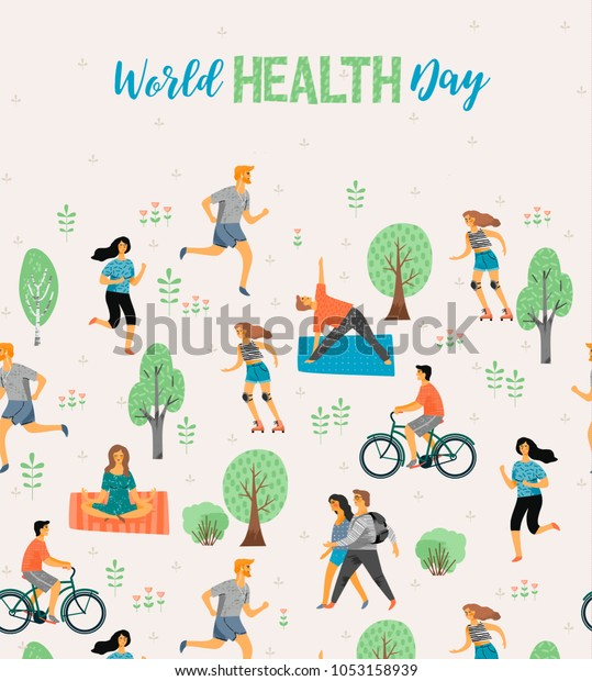 777064eed557 World Health Day Healthy Lifestyle Roller Stock Vector (Royalty Free ...