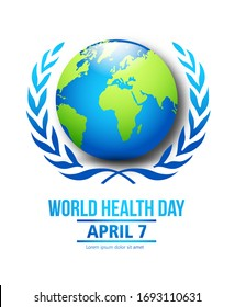 World Health Day heart and doctor stethoscope design. EPS 10 vector concept text design