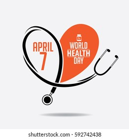 World Health Day heart and stethoscope design. In celebration of April 7 holiday. EPS 10 vector.