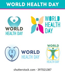 World health day icon collection. Silhouettes of human , stethoscope, heart sign, butterfly icon inset for celebration design.
