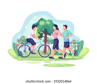 World Health Day illustration concept with Couple jogging and a person cycling in the park. Healthy lifestyle. vector illustration