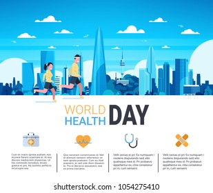 World Health Day Infographic Banner With Man And Woman Jogging Over Silhouette City Template Background