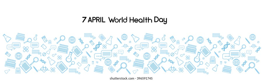 World Health Day Medicine Banner Sketch Background Copy Space Vector Illustration