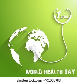 World Health Day on green background.Vector