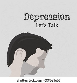 World Health Day on theme Depression let s talk. Depressed man bent his head. Textured vector illustration in flat style.