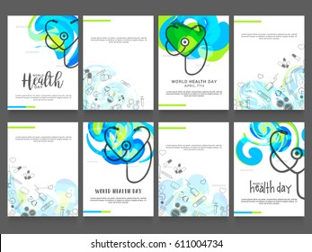 World Health Day Poster Or Banner Background Set.