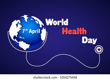 World Health Day Poster Earth With Stethoscope On Blue Background 7 April Holiday Banner