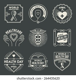 World health day. Retro design insignias logotypes set. Vector vintage elements.