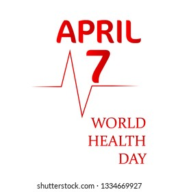World Health Day. Text design with doctor stethoscope. Vector illustration EPS10.