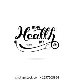 World Health Day Typographical Design Elements. World Health Day lettering icon.World Health Day logotype symbol.Vector illustration