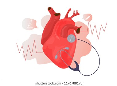 World Health Day vector icon. Heart organ diagnostics tests illustration.