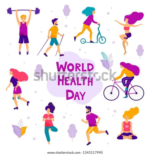 fa0031ecf0b1 World Health Day Vector Illustration Healthy Stock Vector (Royalty ...