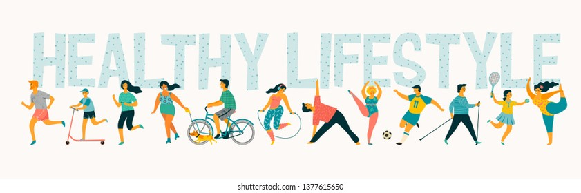 World Health Day. Vector tempale with leading an active healthy lifestyle. Design element. - Shutterstock ID 1377615650
