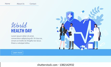 World Health Day Woman Patient with Man Doctor Female Nurse Consultation Vector Illustration. Cardiac Disease Heart Care Heartbeat Check Blood Donation Health Awareness Medical Treatment