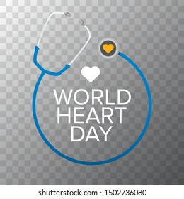 world heart day banner or background with heart isoalted on transparent layout.