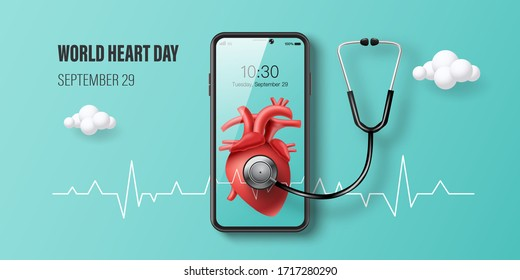 World Heart Day banner, heart with heartbeat line on smartphone screen and background