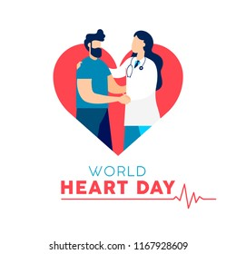 World Heart Day card for health and medicine awareness. Doctor checkup illustration with male patient. EPS10 vector.