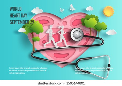 World Heart Day concept,  couple running with tree and a stethoscope, paper art and craft style, flat-style vector illustration.