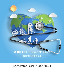World Heart Day concept, family enjoy fresh air, kids playing football, flat-style vector illustration.