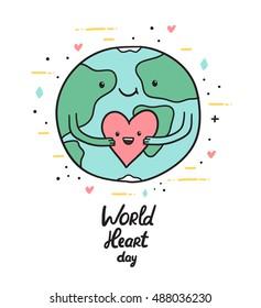 World heart day. Cute Earth globe holding funny cartoon heart.