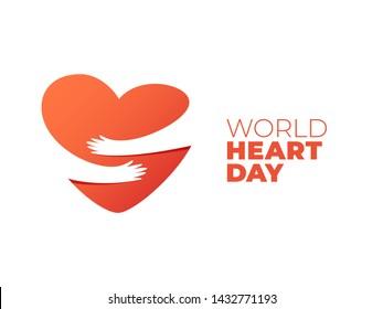 World Heart Day, hands hugging heart symbol. Vector illustration of hands hugging heart, Heart Care concept