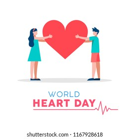 World Heart Day illustration for love and support concept, health care awareness with people holding heartshape. EPS10 vector.