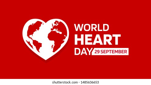 World heart day with red heart and world sign vector design - Vector.