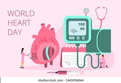 World Heart Day vector concept in 28 September, health care awareness. Tiny doctors treat, care heart. Health concept of hypotension and hypertension disease for landing page, flyer, web.