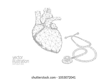 World Heart health Day awareness infarct attack prevent. Medicine low poly render human organ stethoscope polygonal geometric vector illustration art