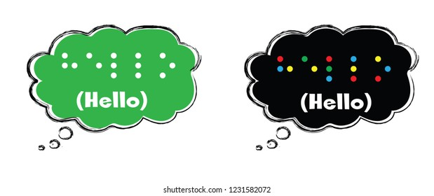 World hello day and World braille day November January Vector eps banner speech bubbles hello Speaking fun funny world hello cloud chat Social Media network icons talk Louis Braille france Coupvray