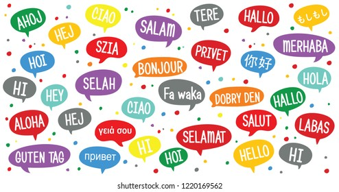 World hello day, November 21. Vector eps banner speech bubbles. different languages of world hello Speaking fun funny different languages of world hello cloud chat Social Media network icons icon talk