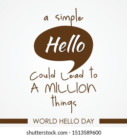 World Hello day vector on the white background. World hello day banner in flat style. Vector illustration EPS.8 EPS.10 - Shutterstock ID 1513589600