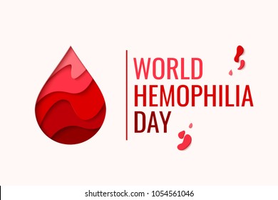 World Hemophilia Day vector background. Awareness poster with red paper cut blood drop. Blood donor day concept
