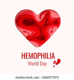 World Hemophilia Day vector background. Awareness poster with red paper cut blood heart. Blood donor day concept