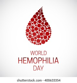 World Hemophilia Day vector illustration poster. Drop of blood made of circles.